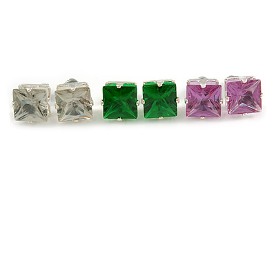 Set Of 3 Classic Crystal Square Cut Stud Earrings In Silver Tone (Green/ Purple/ Clear) - 8mm