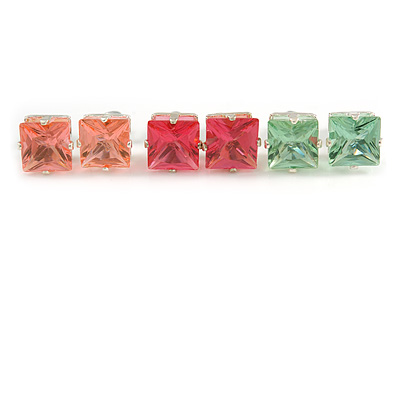 Set Of 3 Classic Crystal Square Cut Stud Earrings In Silver Tone (Light Pink/ Pink/ Aqua)) - 8mm