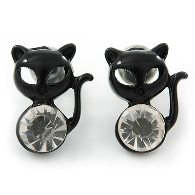 Teen's Black Crystal Kitty Stud Earrings In Silver Tone Metal - 12mm Length - main view