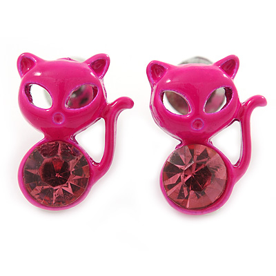 Teen's Deep Pink Crystal Kitty Stud Earrings In Silver Tone Metal - 12mm Length