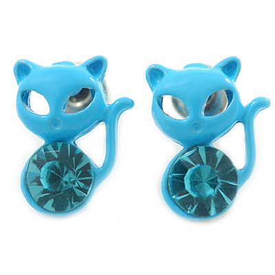 Teen's Light Blue Crystal Kitty Stud Earrings In Silver Tone Metal - 12mm Length