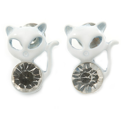Teen's White Crystal Kitty Stud Earrings In Silver Tone Metal - 12mm Length