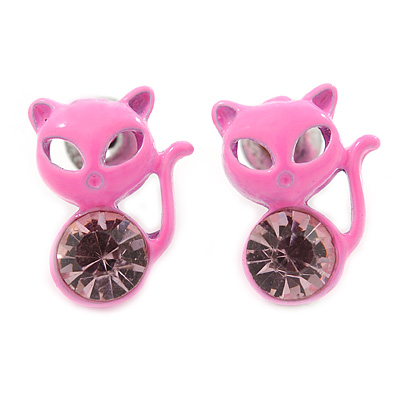 Teen's Baby Pink Crystal Kitty Stud Earrings In Silver Tone Metal - 12mm Length