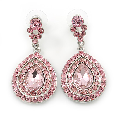 Light Pink Austrian Crystal Teardrop Earrings In Rhodium Plating - 50mm Length