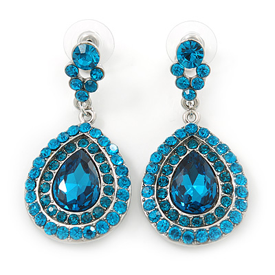 Light Blue Austrian Crystal Teardrop Earrings In Rhodium Plating - 50mm Length