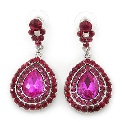 Magenta Austrian Crystal Teardrop Earrings In Rhodium Plating - 50mm Length