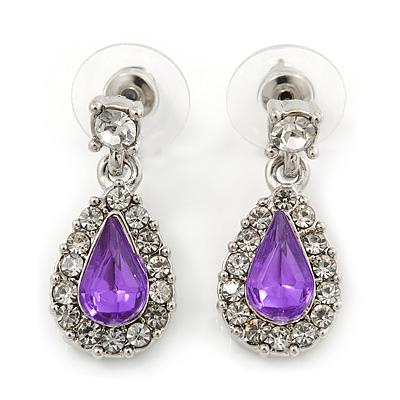 Small Amethyst, Clear Crystal Teardrop Earrings In Rhodium Plating - 25mm Length