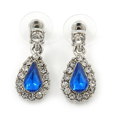 Small Blue, Clear Crystal Teardrop Earrings In Rhodium Plating - 25mm Length - main view