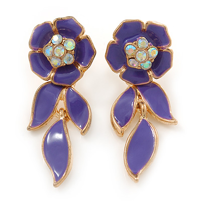 Purple Enamel, AB Crystal Flower Drop Earrings In Gold Plating - 40mm Length