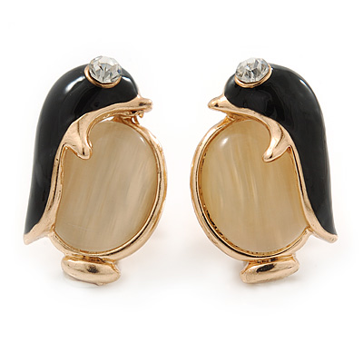 Black Enamel Cat Eye Penguin Stud Earrings In Gold Plating - 20mm Length