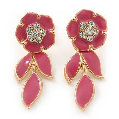 Pink Enamel, Clear Crystal Flower Drop Earrings In Gold Plating - 40mm Length - main view