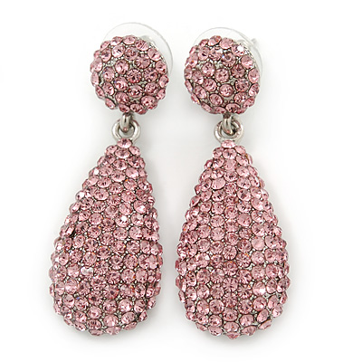 Bridal, Prom, Wedding Pave Pink Austrian Crystal Teardrop Earrings In Rhodium Plating - 48mm Length - main view