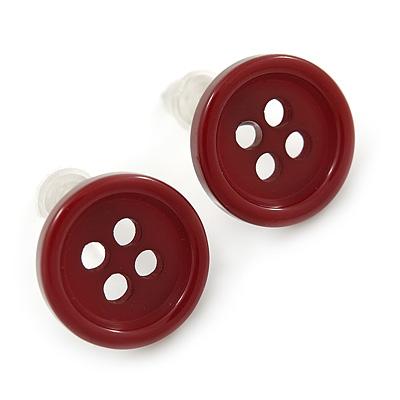 Small Dark Red Plastic Button Stud Earrings (Silver Tone) -11mm Diameter