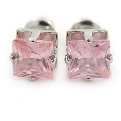 Cz Pink Square Stud Earrings In Silver Tone - 7mm