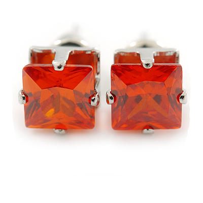 Cz Carrot Red Square Stud Earrings In Silver Tone - 7mm