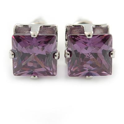 Cz Amethyst Square Stud Earrings In Silver Tone - 7mm