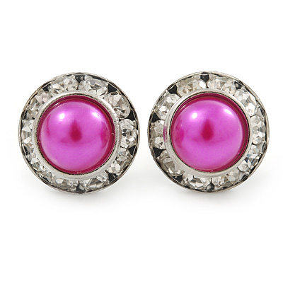 Deep Pink Acrylic Bead, Diamante Button Stud Earrings In Silver Tone - 15mm Diameter
