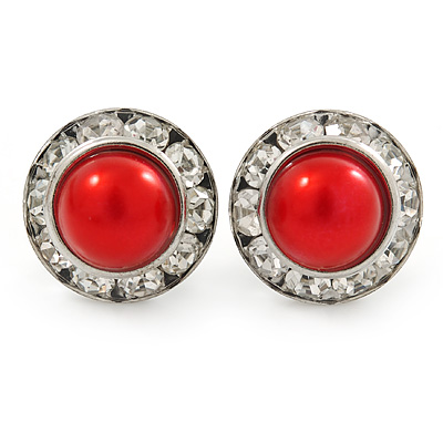 Red Acrylic Bead, Diamante Button Stud Earrings In Silver Tone - 15mm Diameter - main view