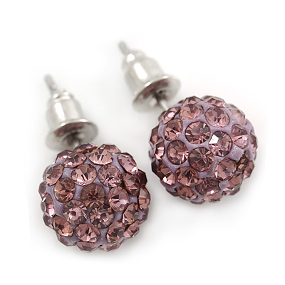 10mm Amethyst Crystal Ball Stud Earrings In Silver Tone