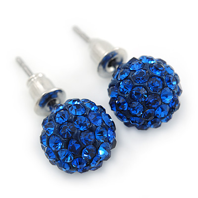 10mm Sapphire Blue Crystal Ball Stud Earrings In Silver Tone - main view