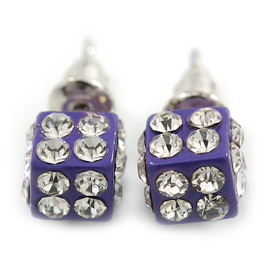 Purple Enamel, Clear Crystal Dice Earrings In Silver Tone Metal - 7mm Diameter
