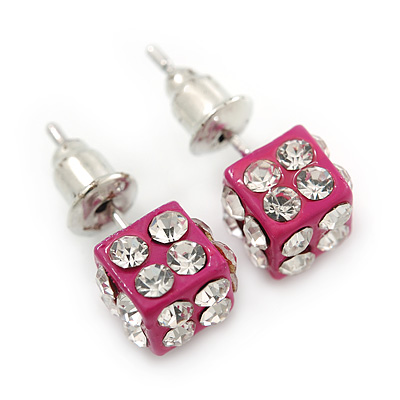 Deep Pink Enamel, Clear Crystal Dice Earrings In Silver Tone Metal - 7mm Diameter