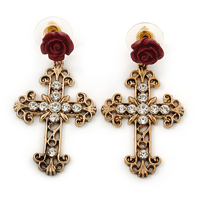 Vintage Inspired Filigree, Crystal Cross With Rose Drop Earrings In Antique Gold Metal - 45mm Length