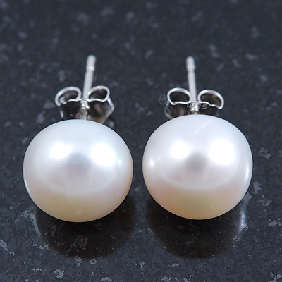 10mm White Freshwater Pearl Sterling Silver Stud Earrings - Boxed