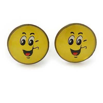 Small Smiling Face Stud Earrings In Silver Tone - 9mm Diameter
