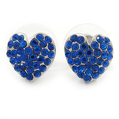 Sapphire Blue Crystal Heart Stud Earrings In Silver Tone - 12mm L