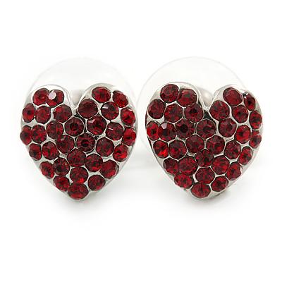 Burgundy Red Crystal Heart Stud Earrings In Silver Tone - 12mm L