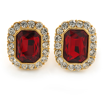 Gold Tone Clear, Dark Red Crystal Square Clip On Earrings - 23mm L