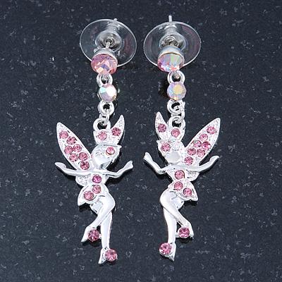 Pink Crystal Fairy Drop Earrings In Rhodium Plating - 45mm L - main view