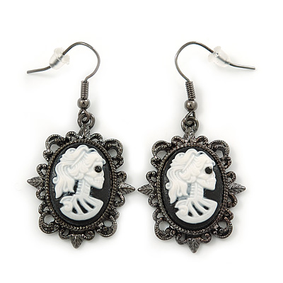 White Skull Cameo Drop Earrings In Black Tone Metal - 45mm L
