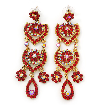 Divine Extravagance Red, AB Austrian Crystal Chandelier Earrings In Gold Tone - 80mm L