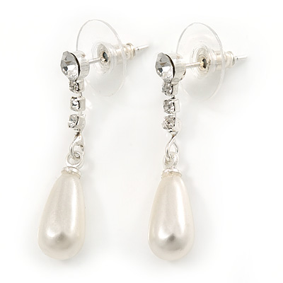 Bridal/ Prom/ Wedding Clear Crystal Faux Pearl Drop Earrings In Silver Plating - 30mm L