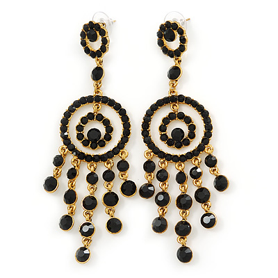 Oversized Bridal, Prom, Wedding Black Austrian Crystal Chandelier Earrings In Gold Plating - 10cm L