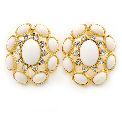 Large Oval Crystal, White Acrylic Bead Stud Earrings In Gold Plating - 35mm L - main view