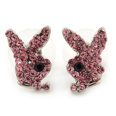 Cute Pink Austrian Crystal Bunny Stud Earrings In Rhodium Plating - 15mm L