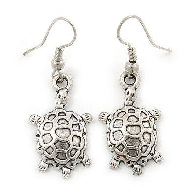 Silver Tone Etched Turtle Drop Earrings In Silver Tone - 40mm L