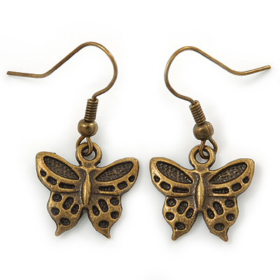 Bronze Tone Small Butterfly Drop Earrings - 30mm L - main view
