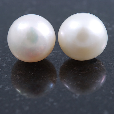 10mm White Off-Round Cultured Freshwater Pearl Stud Earrings In Silver Tone - main view