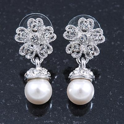 Bridal/ Wedding/ Prom Silver Tone Clear Crystal, 9mm Simulated Pearl Flower Drop Earrings - 30mm L