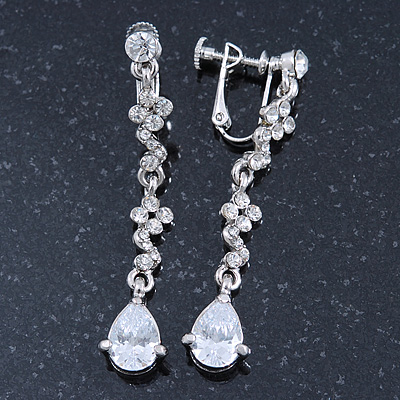 Bridal/ Wedding/ Prom Clear Cz Linear Clip On Earrings In Rhodium Plating - 53mm L