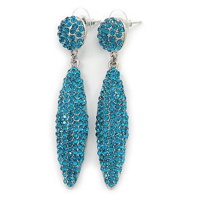 Teal Blue Austrian Crystal Leaf Drop Earrings In Rhodium Plating - 65mm L - main view