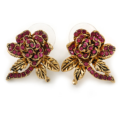 Vintage Inspired Fuchsia Crystal Rose Stud Earrings In Gold Tone - 25mm L
