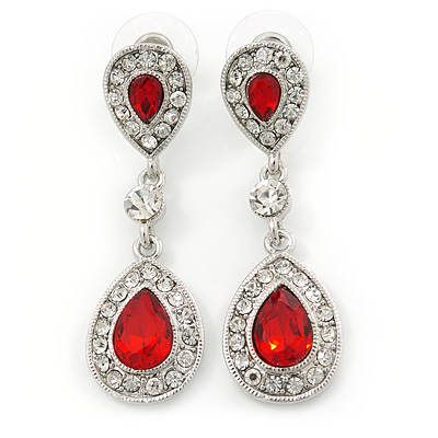 Bridal/ Wedding/ Prom Red/ Clear CZ Teardrop Earrings In Rhodium Plating - 50mm L - main view