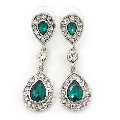 Bridal/ Wedding/ Prom Emerald Green/ Clear CZ Teardrop Earrings In Rhodium Plating - 50mm L - main view