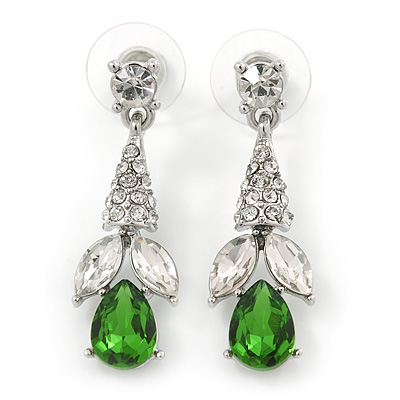 Clear/ Green CZ, Crystal Drop Sensation Earrings In Rhodium Plating - 37mm L