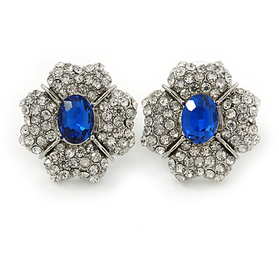 Clear/ Sapphire Blue CZ Floral Stud Earrings In Rhodium Plating - 20mm L - main view